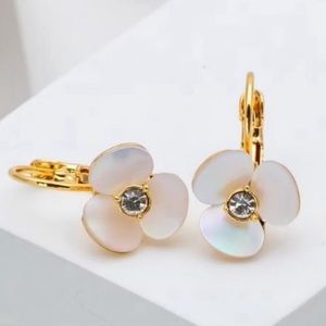 Kate Spade NWT Disco Pansy Gold Leverback Earring